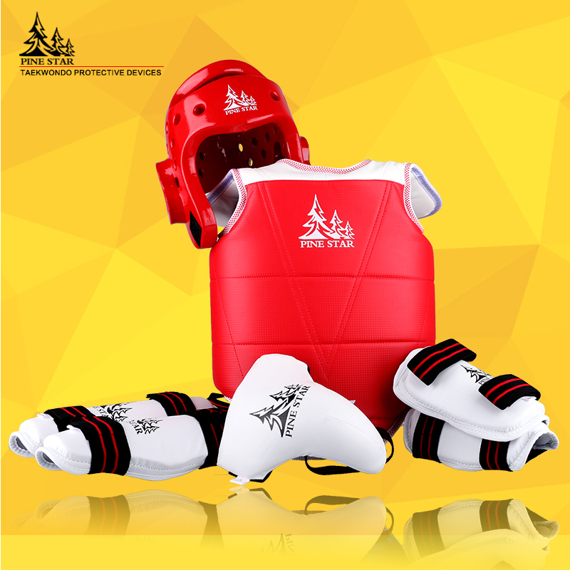 AMAZING SET PINE STAR 1set 5pcs Taekwondo protectors groin guards chest guard arm leg protector ProForce shin headgear Helmet 2017new full set taekwondo protectors karate shin guard arm protector helmet body chest protector groin crotch protective guards