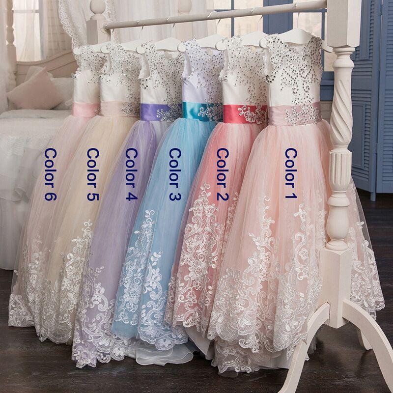 Image 3 - Surferfish Childrens princess dress girls wedding dress Lace  Heart Back Halter Bows Long Party Ball Valentines Day DressDresses
