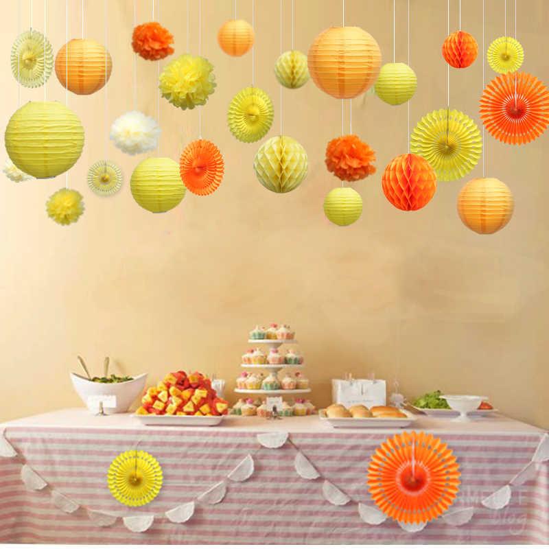 10-15-20-25-30-40cm Wedding Decorative Round Chinese Paper Lanterns Lampion Birthday Party Flower Pompom Tissue Paper Pom Poms