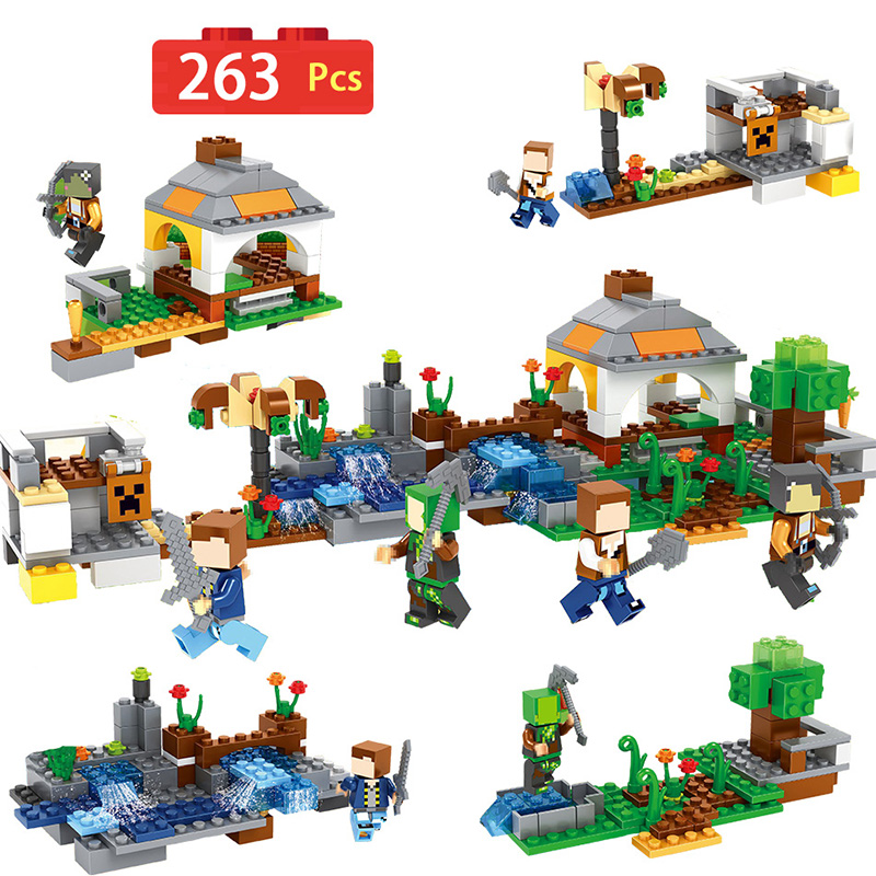 My Village Farm Series Building Block My World Toys Compatible With Legoinglys Minecrafted Bricks Diy Enlighten Brinquedos Gift Blocks