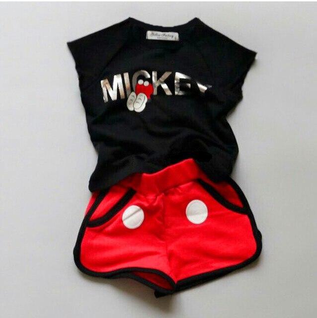 9279ea61d Summer Children Girl Cartoon Minnie Mouse clothing Set Kids Boys clothes  Set baby Short Sleeve T shirt+shorts/pant Suits