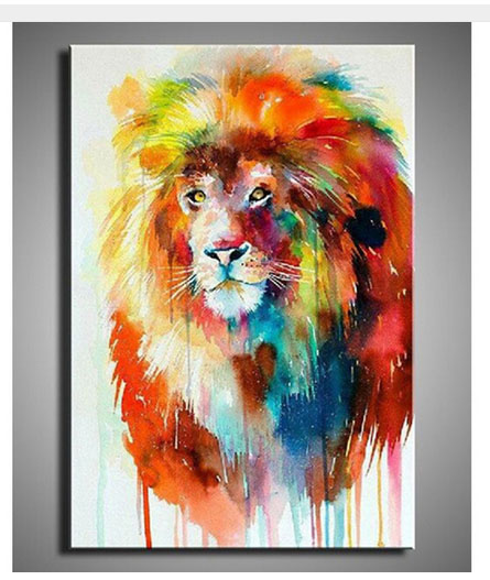 100handpainted Famous Paintings Colorful Animals Oil Painting High Quality Lion Deer Dog Bull Abstract In Calligraphy From Home