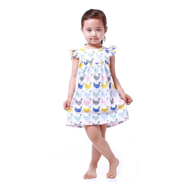 Großhandel boutique huhn kleid baumwolle kurzarm mode kleinkind kid ...