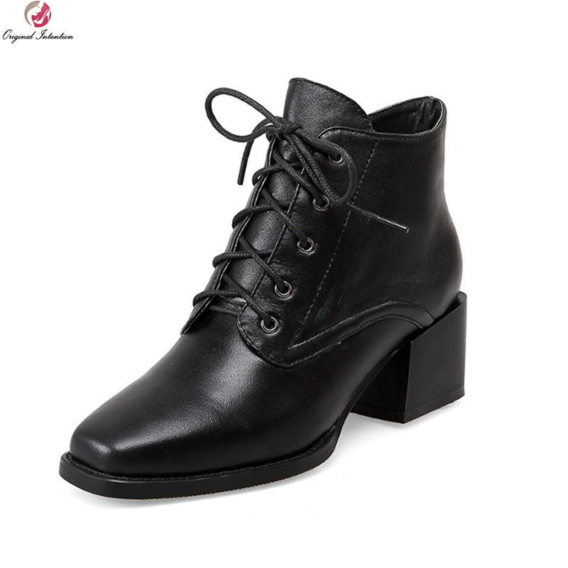 Original Intention Elegant Women Ankle Boots Fashion Square Toe Square Heels Boots High-quality Black Shoes Woman US Size 4-10.5 original intention high quality women ankle boots pointed toe square heels boots fashion black brown shoes woman us size 4 10 5