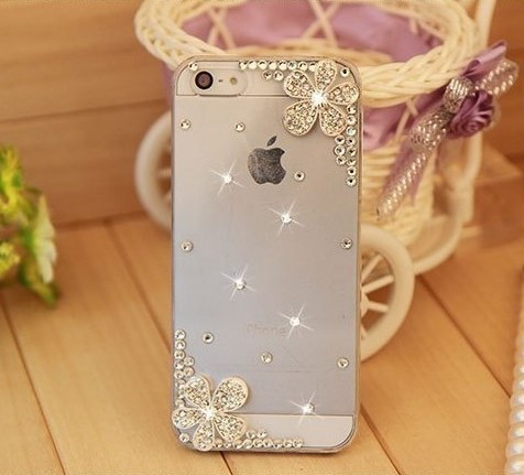Bling Rhinestone Silver Flower Phone Cases Cover for Samsung S4 S5 mini S6 S7edge S8 Note 3 4 5 for iPhone 4s 5s SE 5C 6s 7 Plus