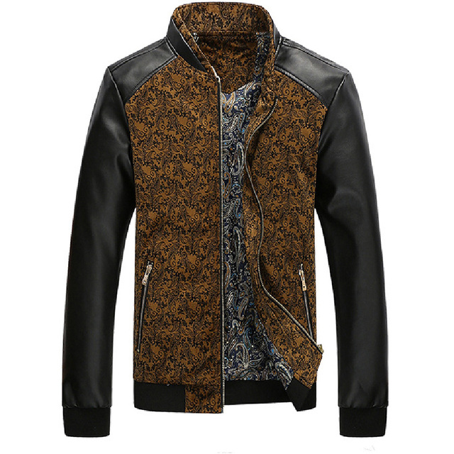 Men's New Hot  Style Leather Jacket Contrast Color Stand Collar Male Outwear Leather Coat  Patchwork Hot Sale Top Casual Clothes