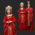 Chinese style  Embroidery Costume Red Wedding dress with Long Tail TV Play Princess Prince  Design Hanfu Costume Bride Wedding