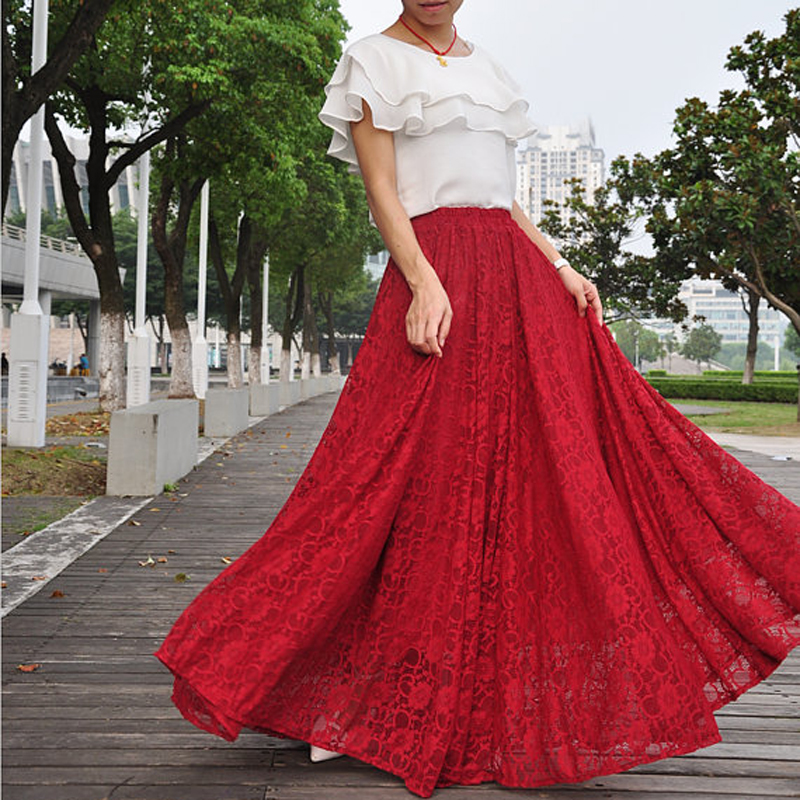 High Waist Maxi Lace Skirt Autumn Skirts Elegant Elastic Waist Spring Skirt Floor Length Long Skirt Saias Na Altura Do Joelho