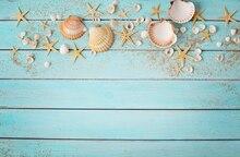 Piso de madeira com Concha estrelas do mar Fotografia Backdrop Bandeira verde incrível show de fundo Photo Studio tiro Booth W-650
