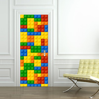 Children Lego Building Module Door Stickers Bedroom Door Creative Self Adhesive Decoration Waterproof Door Stickers