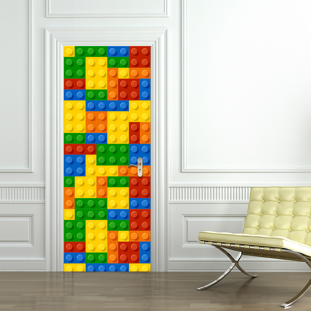 Children lego building module door stickers bedroom door for Adhesive decoration