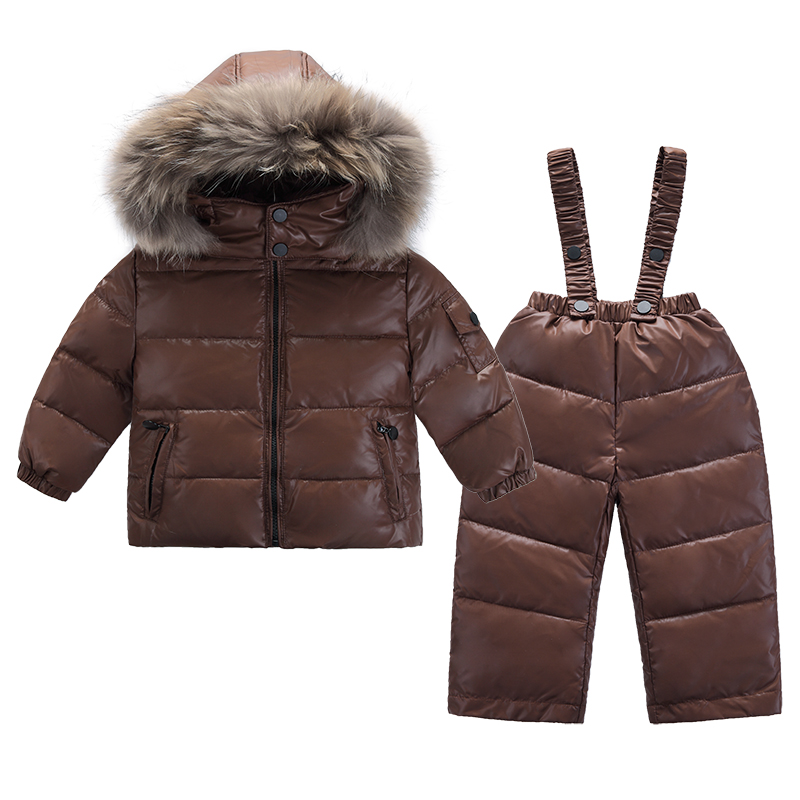 Dark Brown Infant Snowsuit Toddler Boys Winter Thermal Down Jacket Pants Thickening Jumpsuit with Fur Collar Snow Wear infant snowsuit new toddler boys girls winter suits thermal down jacket thickening jumpsuit fur collar baby snow wear