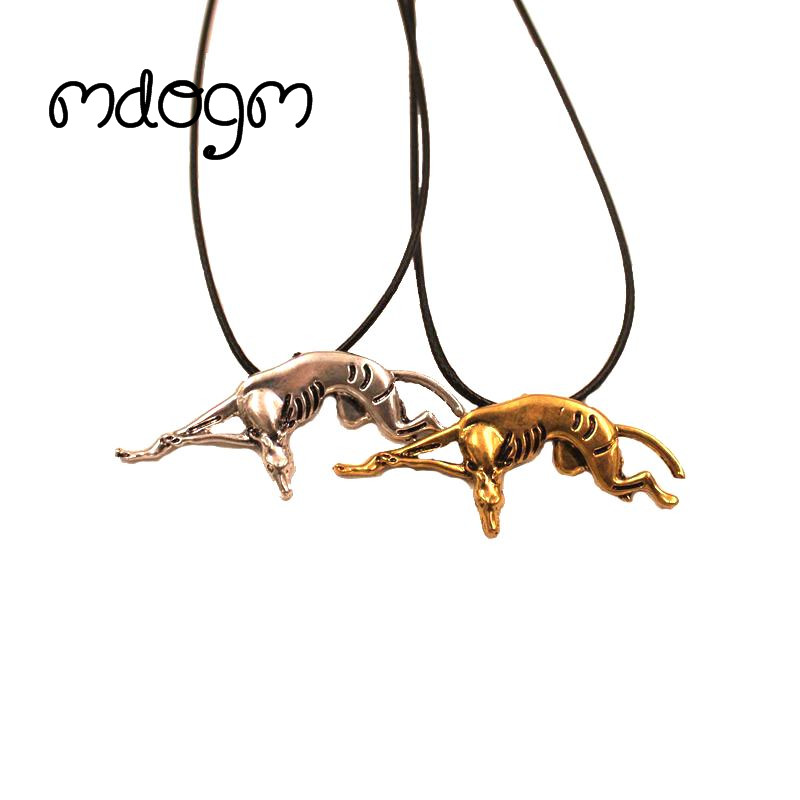 Mdogm 2017 Greyhound Necklace Dog Animal Pendant Antique Gold Silver Plated Jewelry For Women Male Female Girls Ladies N139