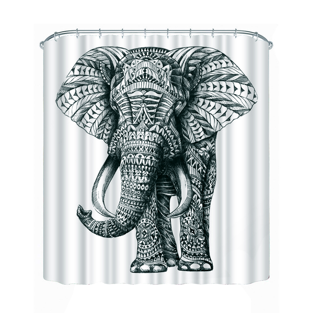 3D Elephant Shower Curtain Bathroom Decor Waterproof Fabric Curtain with Hooks Bathroom Accessories High Quality