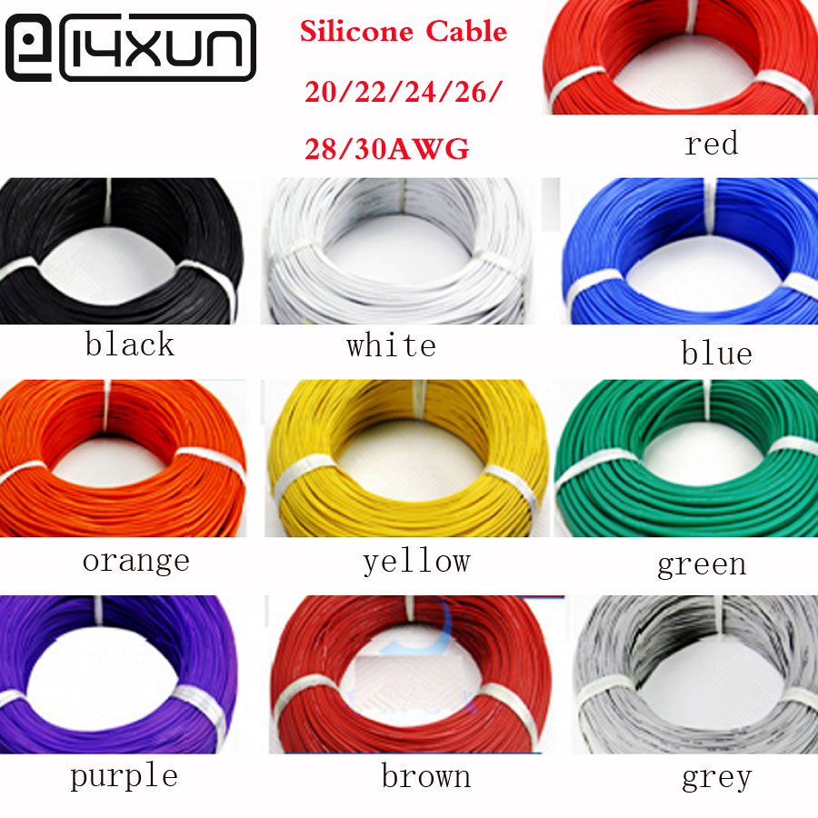 5 Meter 20AWG 22AWG 24AWG 26AWG <font><b>28AWG</b></font> 30AWG Silicone Wire Ultra Flexiable Test Line <font><b>Cable</b></font> tinned copper lamp soft Wires <font><b>Cables</b></font> image