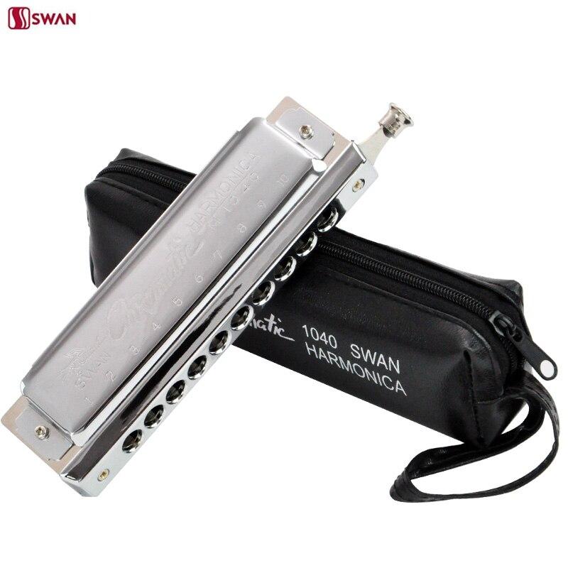 Swan harmonica 10 hoyo 40 tono arpa cromática sw1040 armónica blues enviar bolsa