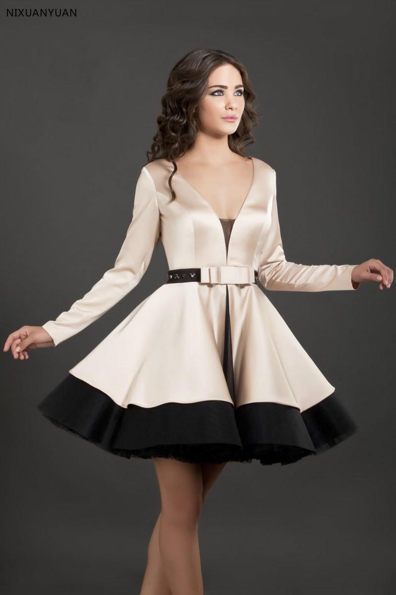 2020 Hot Selling Black And Champagne V-Neck Short Cocktail Dresses With Long Sleeves Vestidos De Formatura