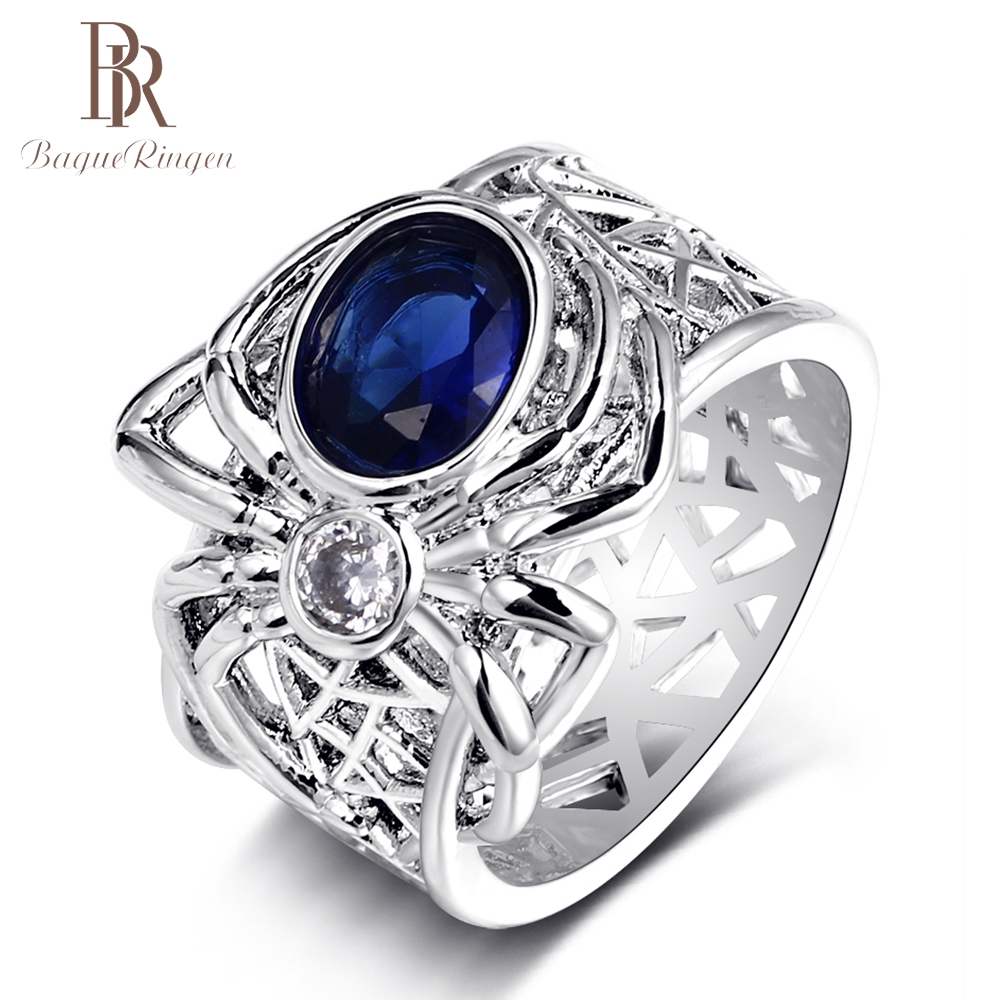 Bague Ringen Top Brand Spider Silver 925  jewelry Sapphire Gemstone Rings For Women Mens Vintage Punk Party Ring Gifts