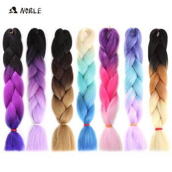 Noble cabelo omber 24 Polegada sintético crochê tranças de cabelo para mulheres 100 g/pacote loira crochê falso trançado cabelo