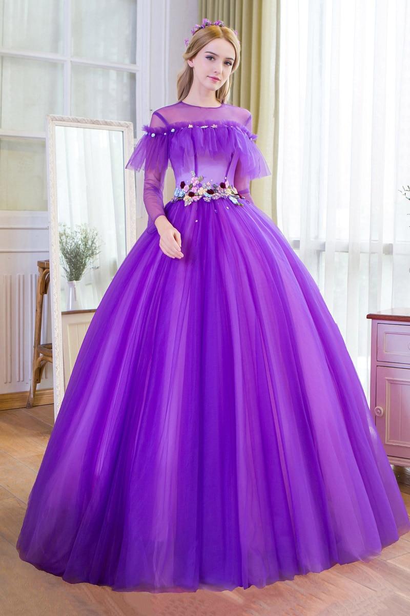 100%real purple long sleeve flower ruffled waist court theme ...