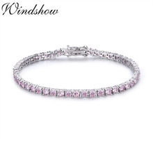 3mm 925 Sterling Silver Cluster Round Pink CZ Ziron Tennis Bracelets Pulseras Pulseira Bracelete Women Jewelry Girl Friend Gift