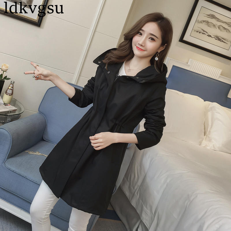2019 New Spring Autumn Black Trench Coats Women Long section Korean Waist Hooded Loose Coats Girls