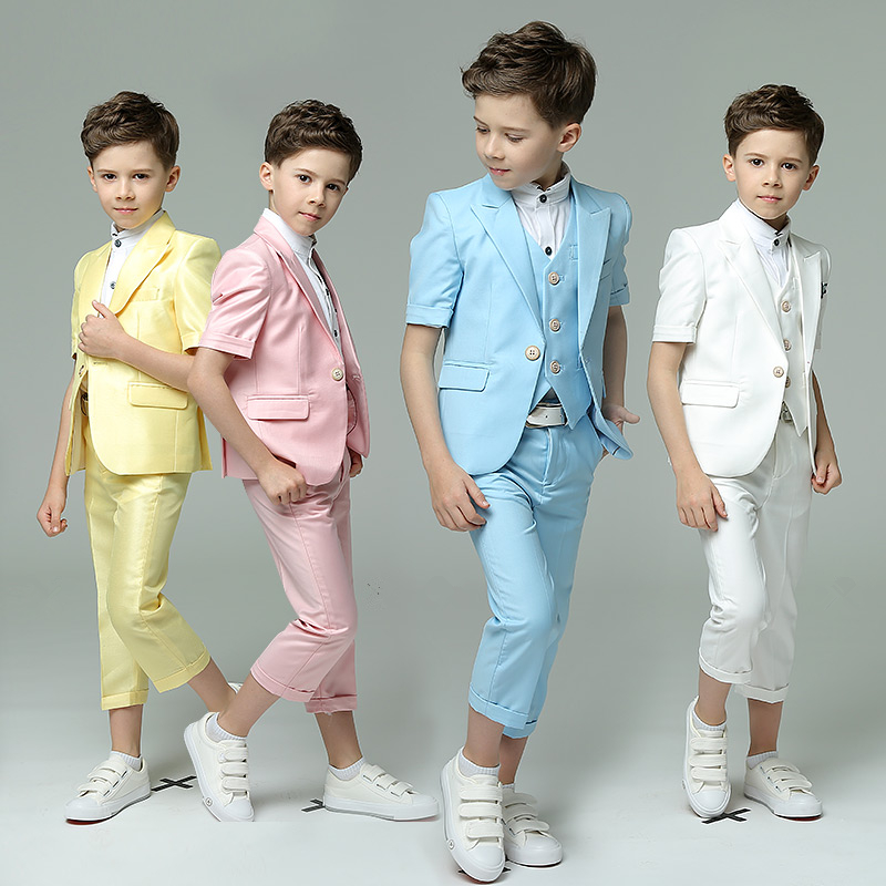 Children's Day Summer Short Sleeve Chorus Show/Performance/Birthday Blazer+Pants+Shirts/Blazer+Pants+Vest+Shirts Suits Sets frilled bell sleeve and hem open front blazer