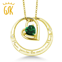 18K Yellow Gold Plated Silver I Love You To The Moon And Back Emerald Pendant