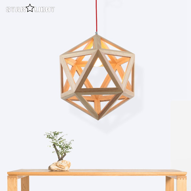 Modern style square geometry wooden pendant light classic design home art decoration wood - Eigentijdse hangerlamp ...