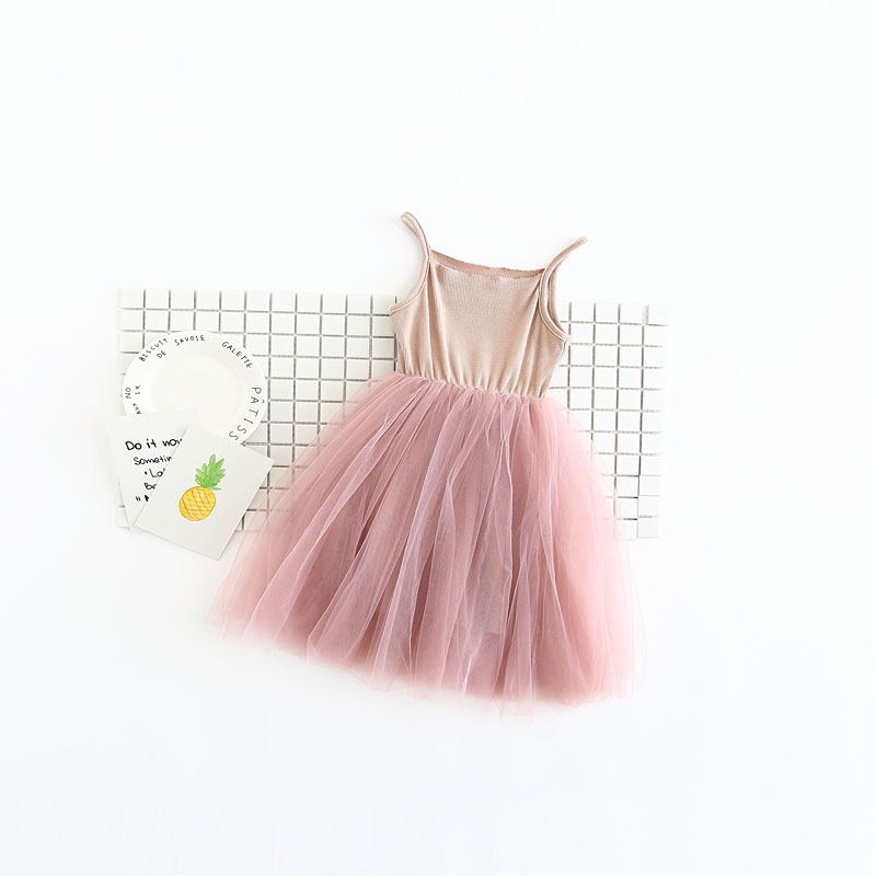 2017-spring-new-small-girls-100-cotton-matching-mesh-net-yarn-childrens-clothing-summer-dress-2