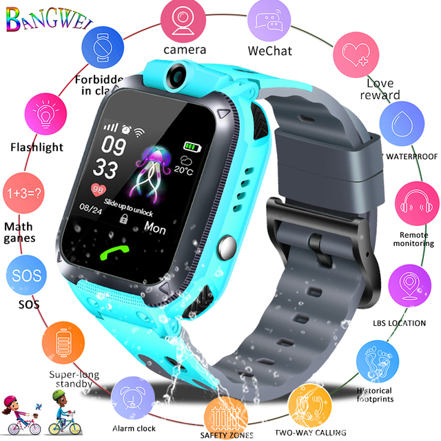 BANGWEI LBS tracker kids watch Camera  touch Screen SOS Call Location Baby clock Children Smart watches For 2G SIM card camera