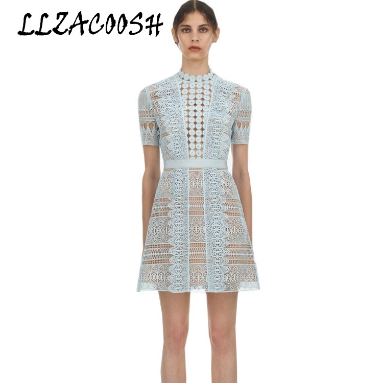 Self Portrait Dress 2019 spring summer Lace Patchwork Ruffles Crochet Dress Vintage Slim Hollow Out Dress
