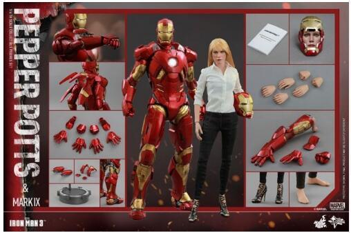 Jouets chauds Iron Man 3: 1/6 échelle poivre Potts et Mark IX MK9 ensemble de figurines à collectionner