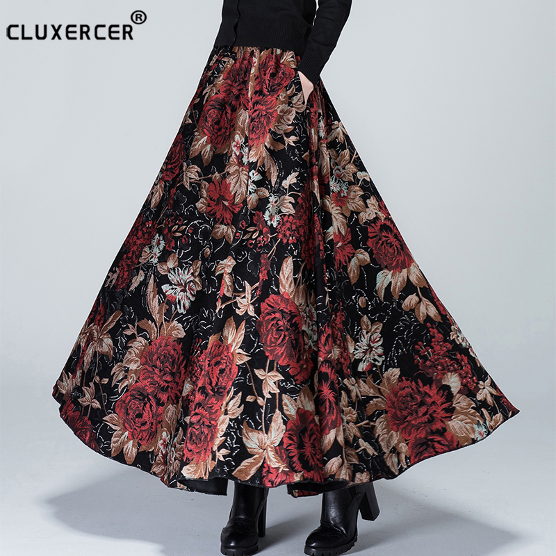 Hight Quality Wool Long Skirt 2019 Autumn Winter Women Skirt Vintage Retro Printing Flower High Waist A-line Long Maxi Skirt