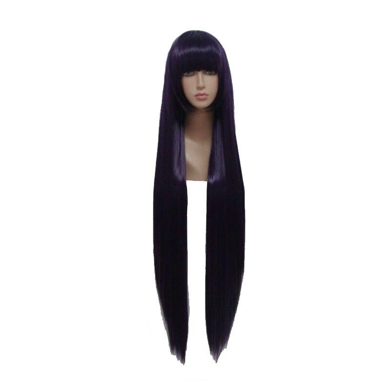 Mcoser 100 см 39.37 темно-фиолетовый цвет длинные прямые партии синтетический для женщин и девочек 100% Высокое Температура Волокно парики wig-164a