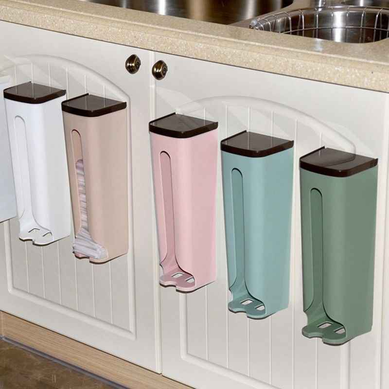Plastic Storage Box Wall Hanging Garbage Bag Organizer Kitchen Debris Finishing Holder Collection Container Home Objects