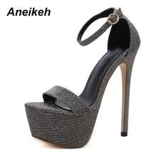 Aneikeh yeni yaz Bling Glisten yüksek topuklu kadın sandalet seksi kadın platformu gece kulübü parti düğün ayakkabı boyutu 42 43 44 45 46