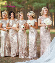 Champagne Long vestido longo Sequined Short Sleeve Floor Length Bridesmaid Dress 2016 Prom Dress Wedding Party Dress