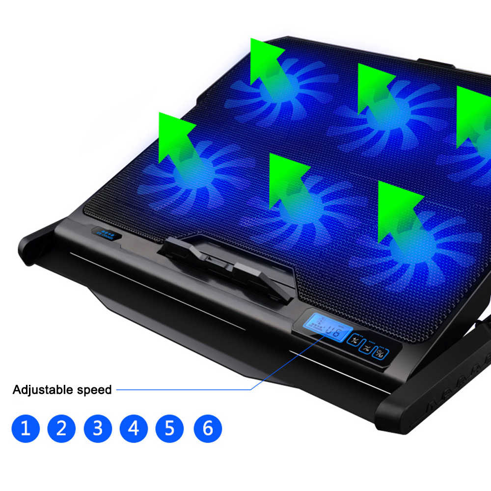 SeenDa قاعدة تبريد كمبيوتر محمول 6 مراوح التبريد و منافذ USB مزدوجة مبرد كمبيوتر محمول مع ضوء شاشة الكريستال السائل حامل دفاتر الملاحظات ل 12-16 بوصة