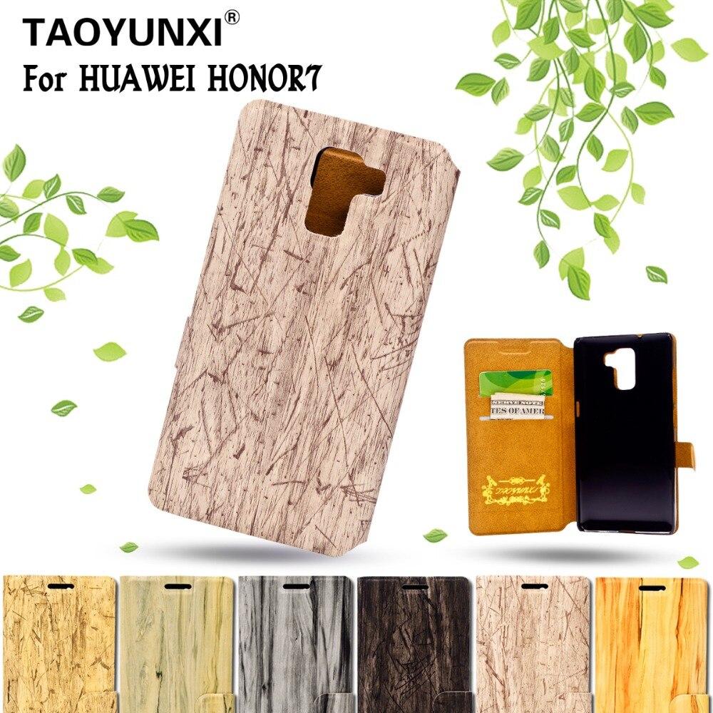 Grano de madera Caja Del Teléfono de la PU Funda de Cuero Para Huawei Honor 7 5.