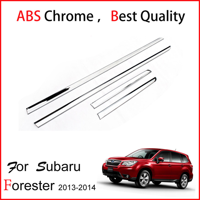TOP quality ABS chrome body side molding / door moulding trim for Subaru Forester 2013 2014 ,supply by ISO9001 great factory  stainless steel side door molding trim cover for 2013 up subaru forester