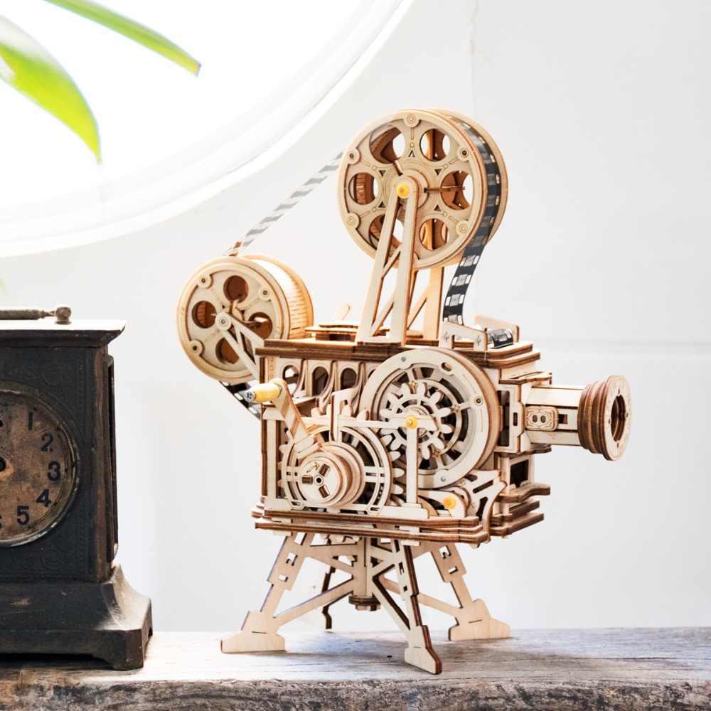 Robotime Hand Crank Diy 3D Flim Projector Wooden Model Building Kit Assembly Toy Gift for Children Adult LK601