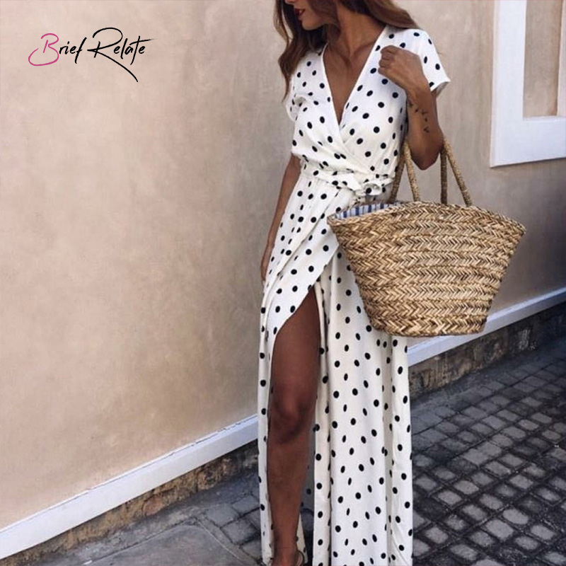 Brief Relate Polka Dot Summer Beach Style Chiffon Dress Deep V Neck Ankle Length Long Split Sexy Women Dress 4 Colors in Dresses from Women 39 s Clothing