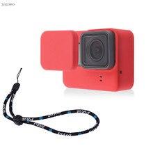 세트 부드러운 실리콘 고무 프레임 보호 케이스 + 렌즈 캡 + Gopro 영웅 5 6 7 조정 가능한 손목 스트랩 블랙 카메라 액세서리