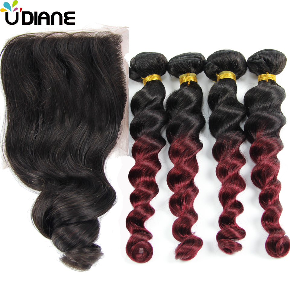 Brazilian Human Hair Loose Wave With Closure 4PCS 1B/Burgundy Ombre Hair Weave With 1PCS 4*4 Loose Wave Lace Closure 3LD01LC
