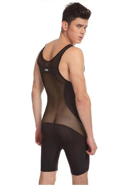 Hot 1 UNIDS JQK Hombres Sexy Ropa Interior Transparente Chaleco Body Wear Sexy Boxeador Body Ver A Través de