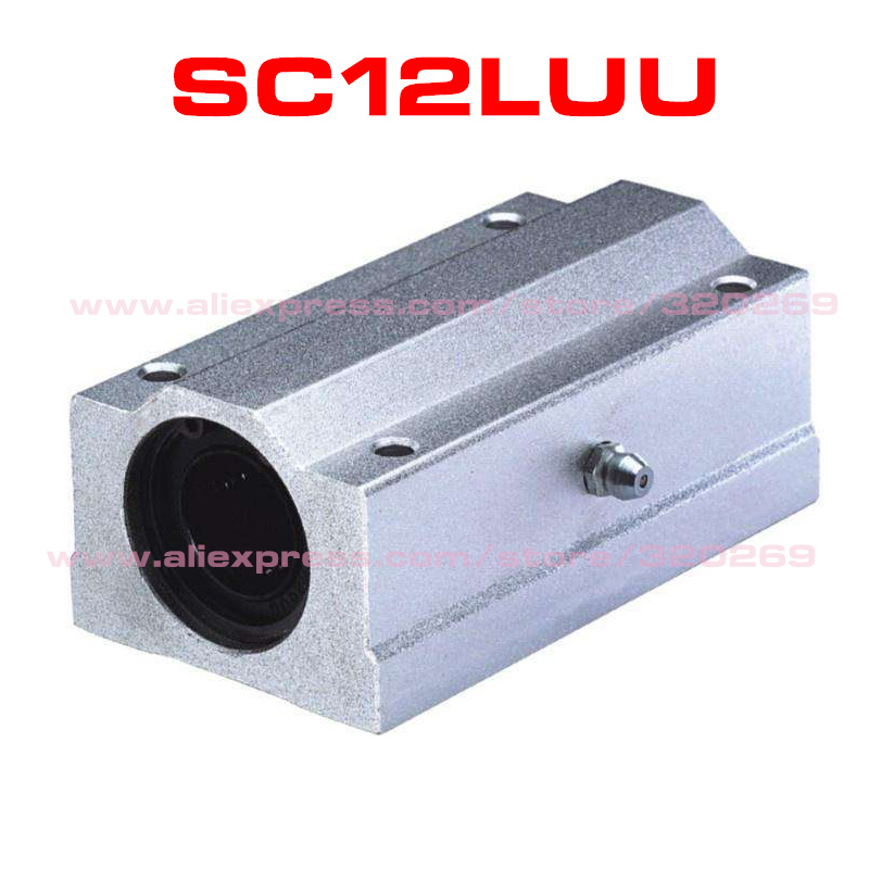 QWORK 2Pcs SCS12LUU Aluminum Linear Motion Ball Bearing Slide Unit Bushing 12mm Bore Dia Type CNC Extra Long Linear Roller Bearing Slide Block