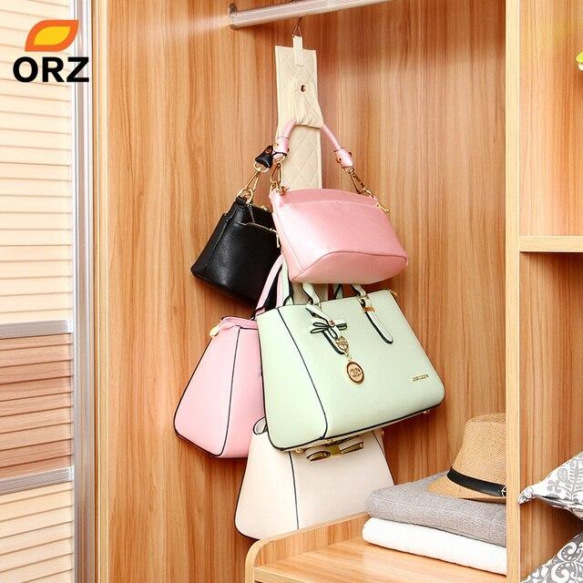 ORZ 5 Hooks Handbag Purse Holder Shelf Hanger Rack Wardrobe Storage  Organizer Rack Bathroom Rear Door