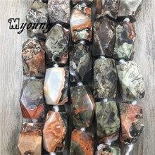 Grandes perles à facettes marron océan Jaspers pépite pendentif, sédiments de mer Jades fossiles Agates perles pour bricolage bijoux MY1980