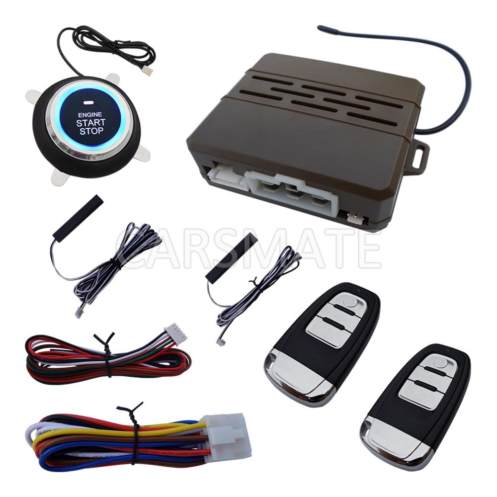 Universal PKE Car Alarm System With Remote Start Car Push Button Start Passive Keyless Entry Auto